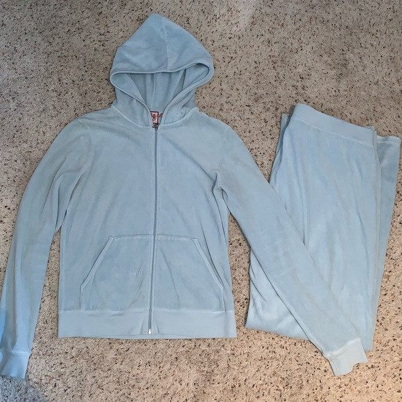 Juicy Couture Tops Velour 2 Piece Tracksuit Baby Blue Poshmark